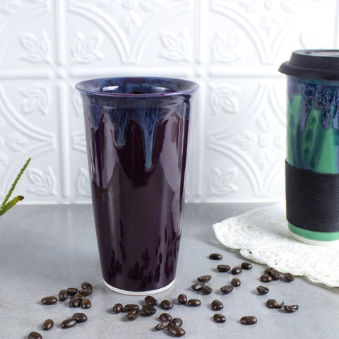 Ceramic Coffee Travel mug, Eggplant Purple BlueRoomPottery with silicon lid