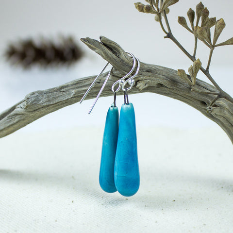 Turquoise Ceramic Drop Earrings