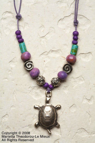 Turtle Necklace Ceramic Mothers Day gift, Handmade Silver Beads