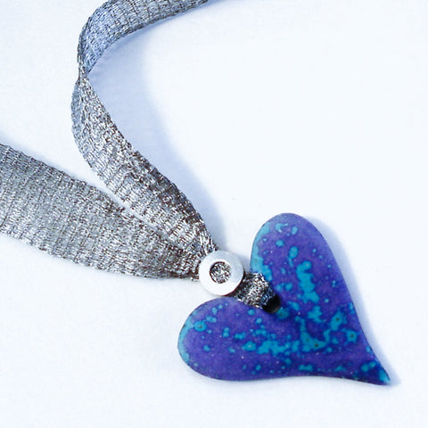 Purple/Blue Ceramic Heart Bead Necklace