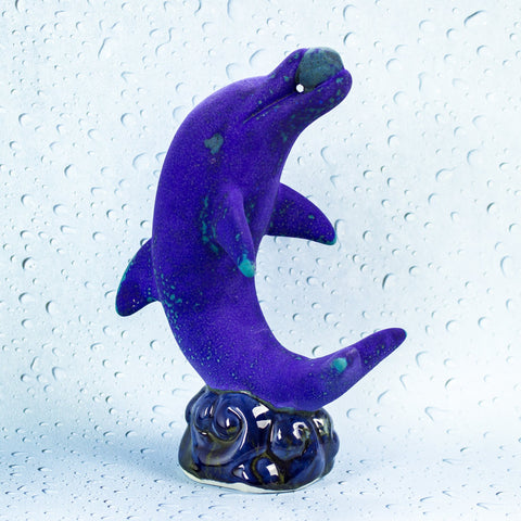 Dolphin Sculpture, Ceramic Pottery Velvet Purple glaze