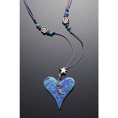 Crescent Moon, Star, Ceramic Heart Necklace