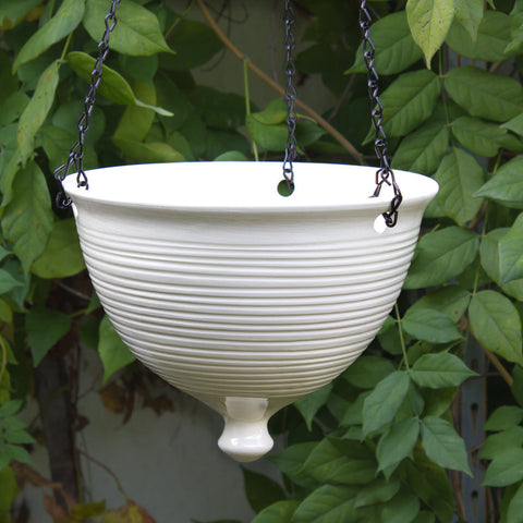 Ceramic Hanging Planter, Large modern white pottery Hanging planter