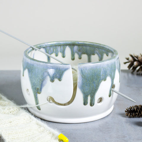 Knitting Yarn Bowl, White and sage silver, 3 EXTRA Holes, Yarn holder