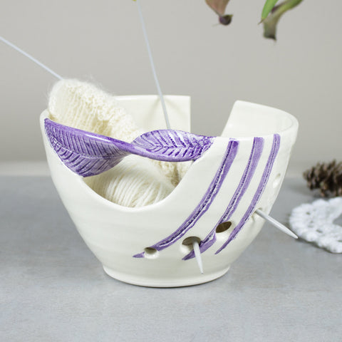 White Ceramic Yarn Bowl, Purple twisted leaf Knitting bowl