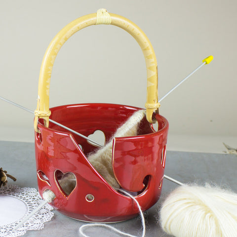 Yarn Bowl Large Red Heart Pottery knitting Bowl & handle