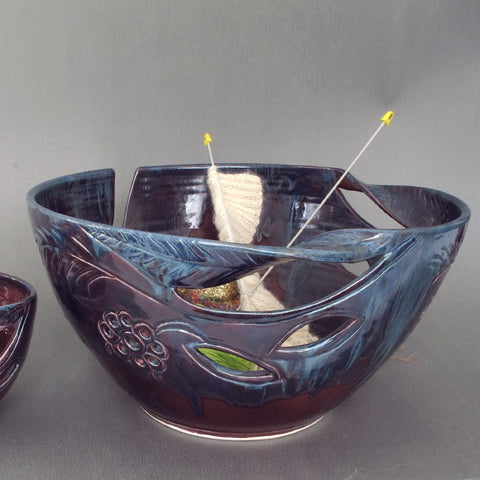 JUMBO Extra Large Knitting Ceramic Yarn Bowl in Eggplant Purple