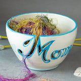 Mom Yarn bowl with Cutout Letters and Turquoise Highlights