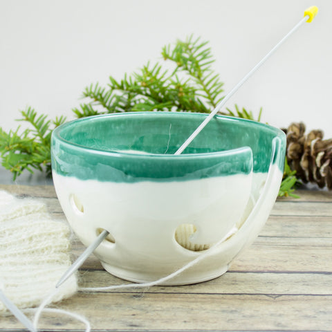 Petite White Mint Green Yarn bowl, Knitting Bowl Small Ceramic Yarn holder Portable Crochet bowl