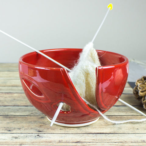 Small Red Yarn Bowl with cutouts