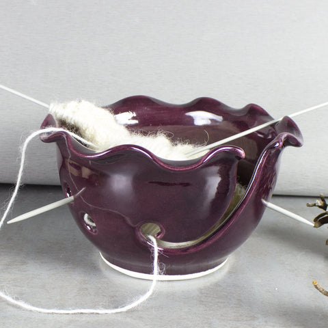 Ceramic Yarn Bowl, Knitting Bowl, eggplant purple crochet bowl