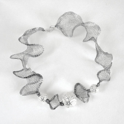 Cool, shining glow, Silver Textured Silk and Ceramic Necklace