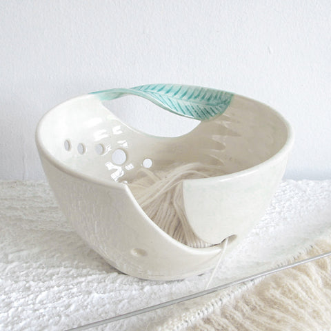 Fresh White Yarn Bowl Green Twisted Leaf