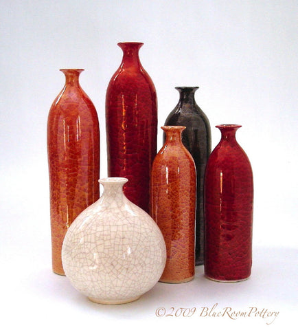 Set of Six Bottles, Minimalist Home Decor