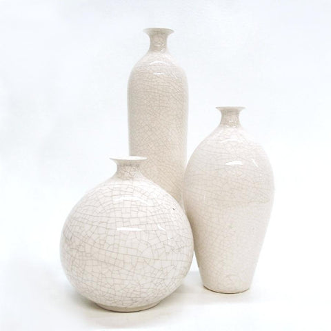 Set of 3 White Minimal Handmade Bottles