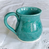 Green Turquoise Ceramic Coffee Mug, Hand Carved Cup, Spring Kitchen