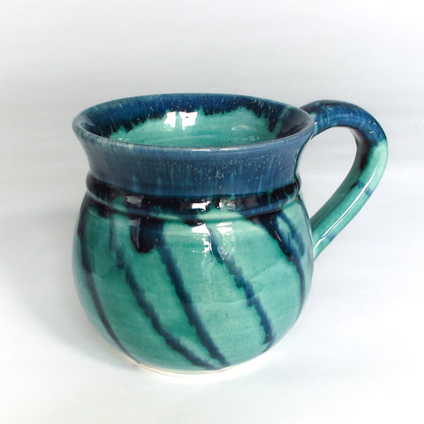 Aqua Green Handmade Pottery Coffee Mug, Tea Cup with Blue Highlights