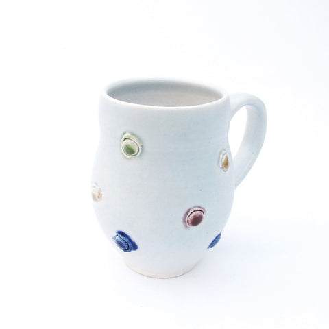 Mardi Gras Modern White Porcelain coffee cup with dots