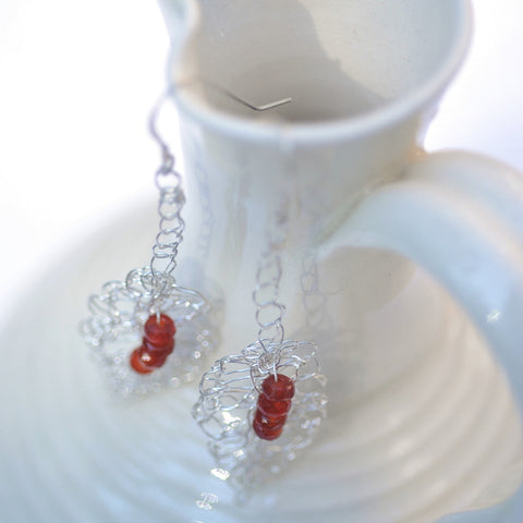 Silver Crochet Lace Carnelian Leaves