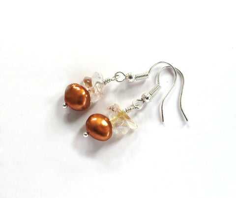 Golden Pearls & Citrine Sterling Silver Earrings
