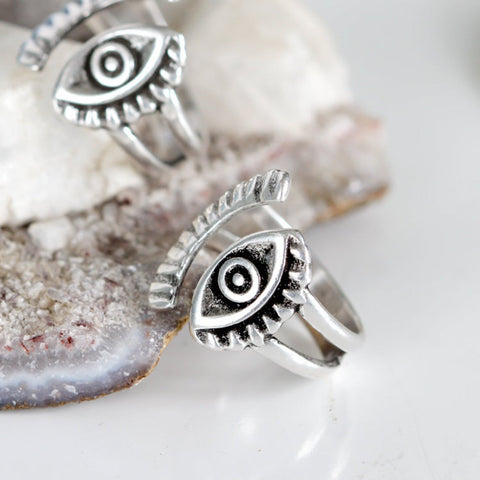Silver Evil Eye Protection Ring