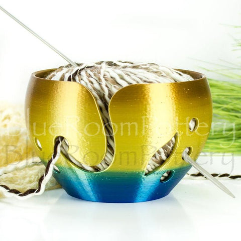 Yarn bowl Blue gold leaf Regular Knitting Bowl 3D printed eco friendly plastic Travel Crochet bowl knitter gifts 5.5 inch Yarn holder