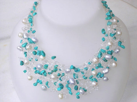 Turquoise Necklace Silver Real Pearls Nautical Bridal Wire Wrapped Modern Beaded necklace