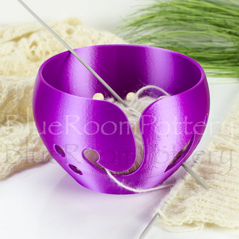 Regular Yarn bowl Purple Pearl leaf Knitting Bowl 3D printed eco friendly plastic Travel Crochet bowl knitter gifts 5.5 inch Yarn