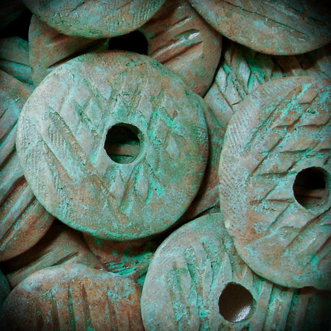 LARGE 40 mm Mykonos Ceramic Disk Pendant Greek Bead Green Copper Patina Button Jewelry