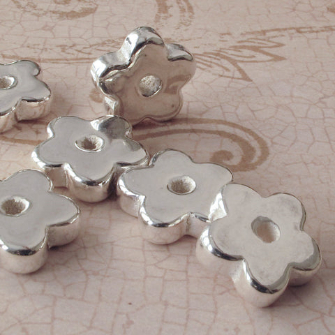 2 Mykonos Silver flower beads fine bright Greek Ceramic Bead Modern Jewelry craft supplies DIY