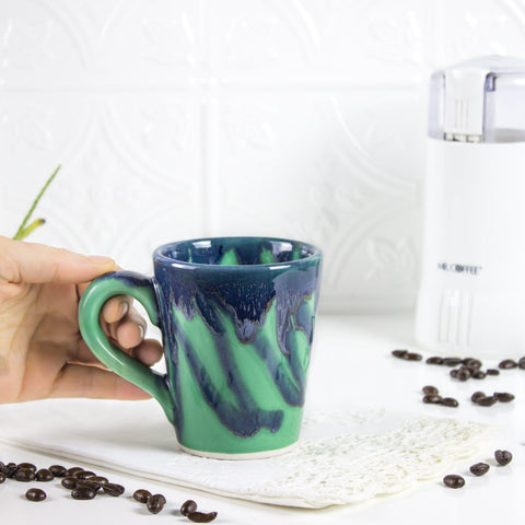 Ceramic Coffee mug, BlueRoomPottery Green w/drips