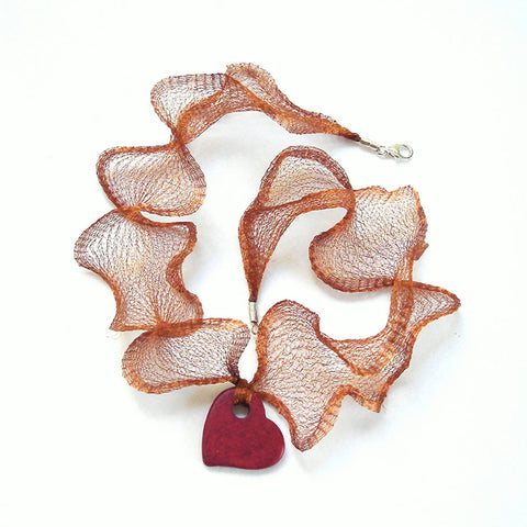 Ceramic Red Heart Valentine's Day Necklace