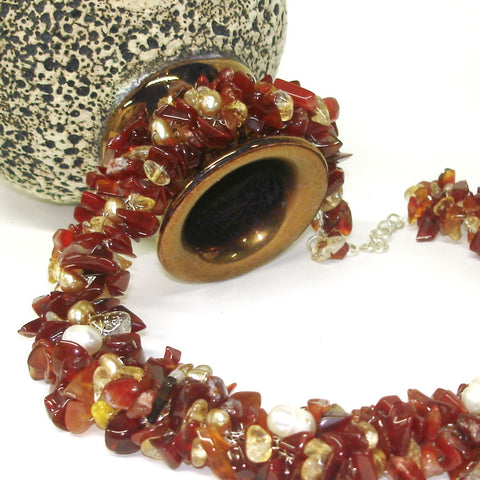 Earthy Crochet Knitted Lace Necklace, Silver Wire, Carnelian Citrine Freshwater Pearl
