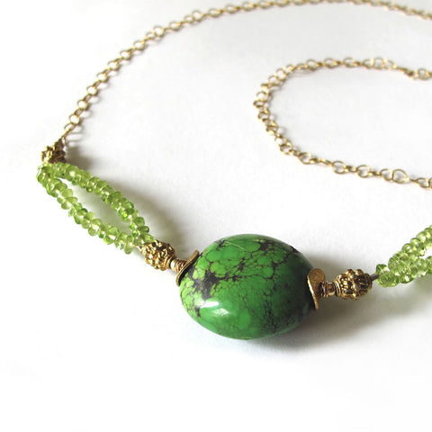 Green Peridot & Turquoise, 14k Gold Necklace