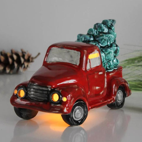 Red Truck with Christmas tree, ceramic Candle Holder lantern, Holiday mantel Decor
