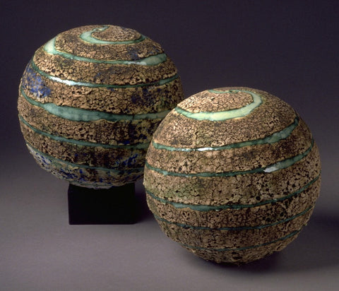 Set of 2 Ceramic Textured Planet Large Spheres, Twin Sister Pleiades Constellation