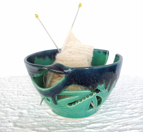 Mint Green Blue dragonfly Regular Yarn Bowl