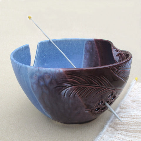 BlueRoomPottery Large Yarn Bowl Blue and Purple / Two-Tone Pottery