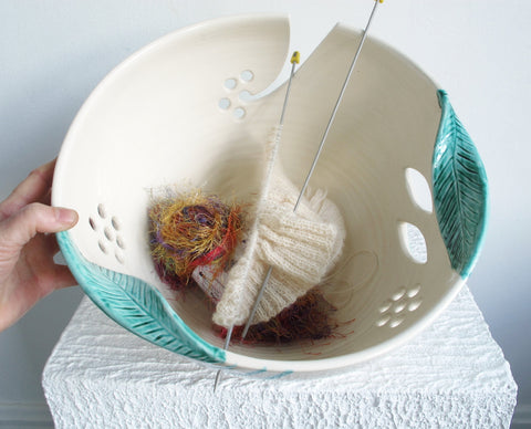 JUMBO Extra Large Knitting Ceramic Yarn Bowl Winter White