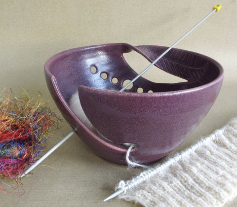 Matte Lilac Regular Knitting Bowl handmade ceramic Yarn Bowl