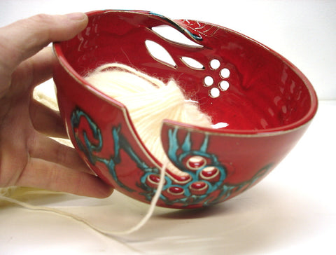 Red Ceramic Yarn Bowl POTTERY Knitting Crochet Bowl Large Handmade Twisted Leaf