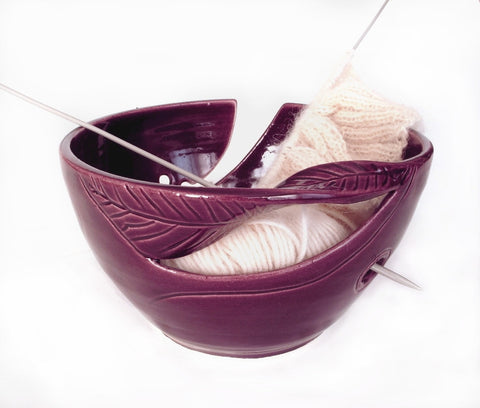 Eggplant Purple Yarn Bowl KNITTER accessories, twisted leaves