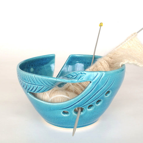 Yarn Bowl Robin's egg turquoise twisted leaves Yarn Organizer