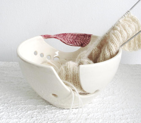 White Yarn Bowl Dark Pink Twisted Leaf Wheel thrown