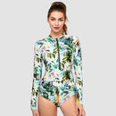 Side Ruching Long Sleeve One Piece Swimsuit — Coconut Palm