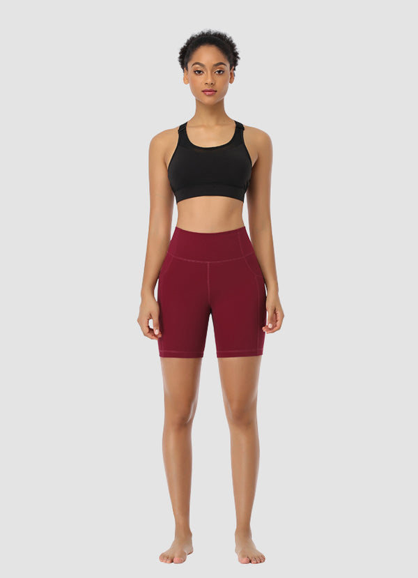 "Newborn High Waist Bike Shorts 6"" — Dark Red"