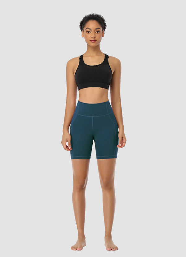 "Newborn High Waist Bike Shorts 6"" — Teal"