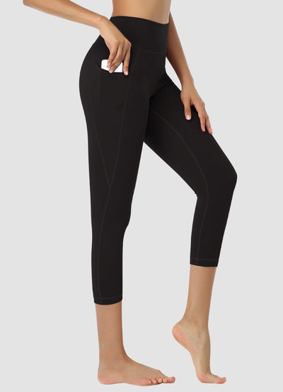 "Newborn High Waist Capri Leggings 21"" — Black"