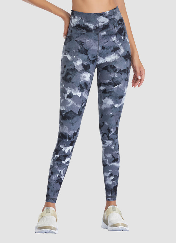 "Newborn High Waist Yoga Leggings 25"" — Grey Camo"
