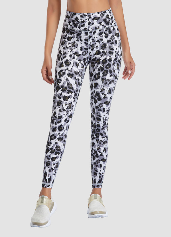"Newborn High Waist Yoga Leggings 25"" — Snow Leopard"